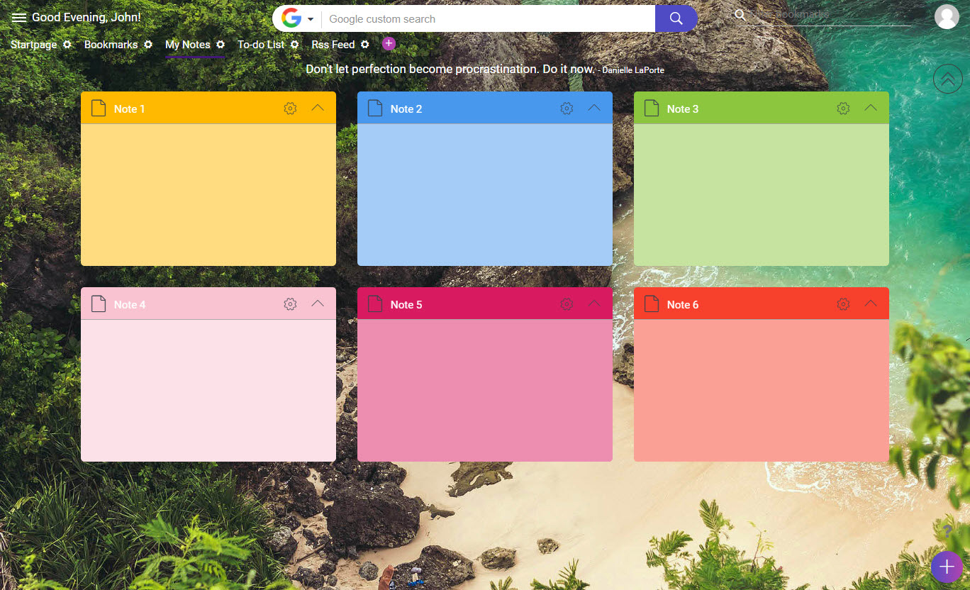 Sticky Notes Dashboard